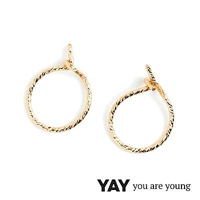 YAY You Are Young Fruit Dor 雅果迷你圓耳環 耳骨夾 金色髮絲紋