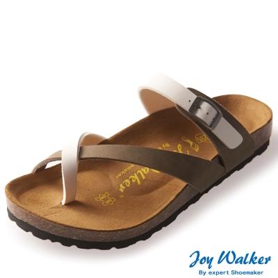 Joy Walker 素面交叉帶夾腳涼鞋* 卡其