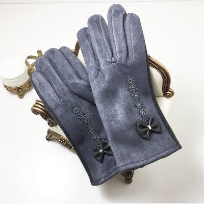 ACUBY-一指觸控防滑蝴蝶結手套-灰