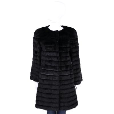 Class Roberto Cavalli 黑色腰間金屬設計皮草大衣