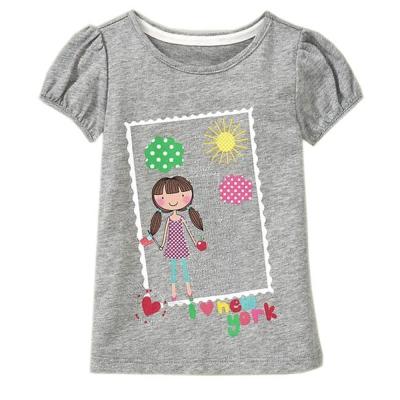 歐美風格設計 小童女童短棉T居家外出 天真小女孩 灰色