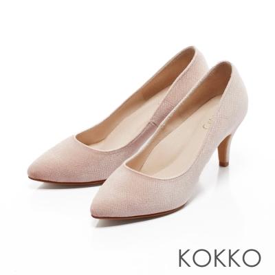 KOKKO-尖頭光感絲絨晚宴手工高跟鞋-柔美粉