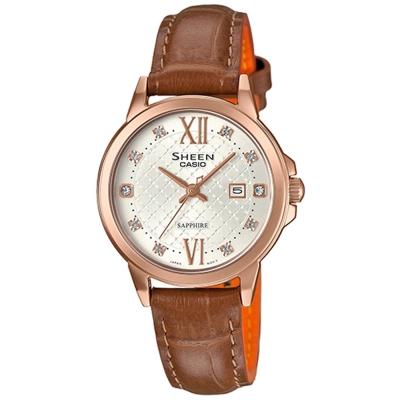 SHEEN 奢華系列羅馬時刻藍寶石玻璃日曆皮帶腕錶(SHE-4525PGL-7A)-金框31mm