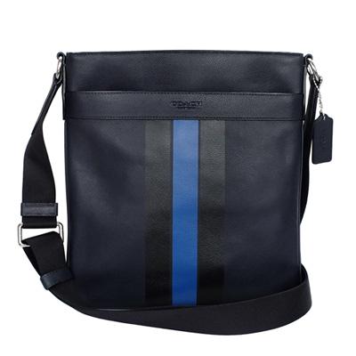 COACH深藍全皮雙色直紋前後夾層袋方型斜背男包
