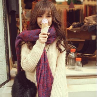 梨花HaNA-韓國圈圈絨混紅色毛織長圍巾