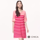 CHICA 氣質亮眼異材質拼接條紋圓領針織洋裝(2色)