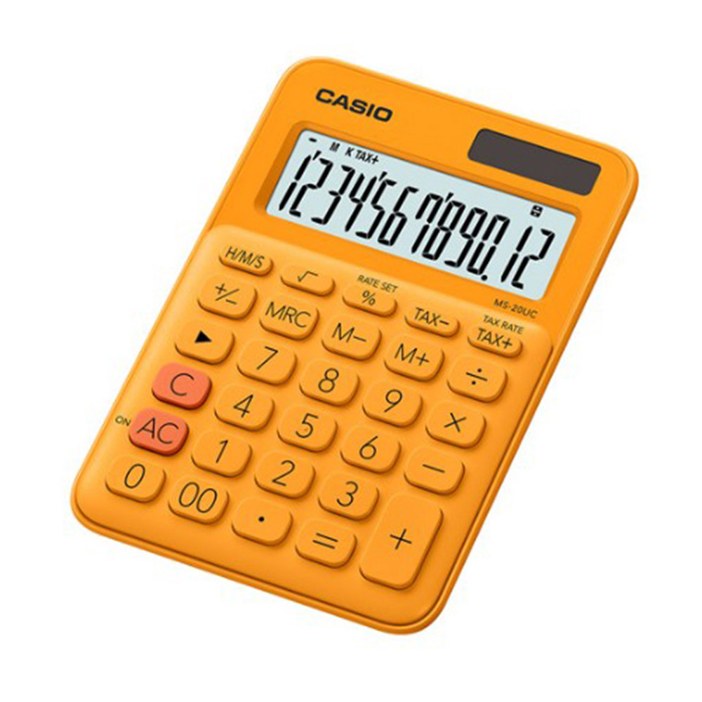 CASIO 12位元繽紛馬卡龍色系便利型計算機 柳橙橘 MS-20UC-RG