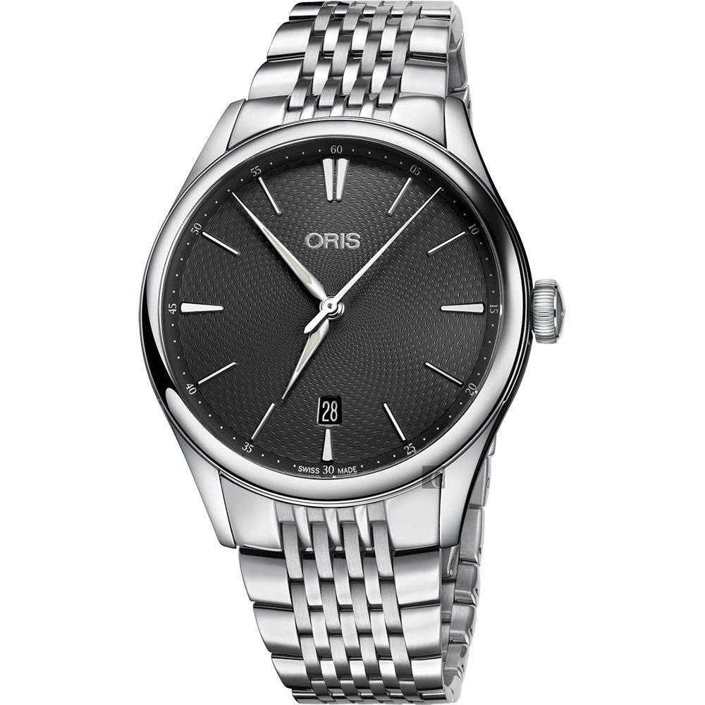 Oris豪利時 Artelier 日期機械腕錶-灰/40mm