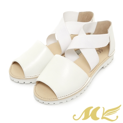MK-台灣製真皮系列-韓系鬆緊交叉設計平底涼鞋-白色