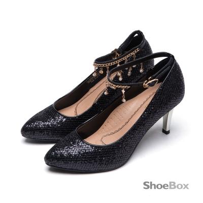 鞋櫃ShoeBox-高跟鞋-金蔥垂綴水鑽尖頭鞋-黑