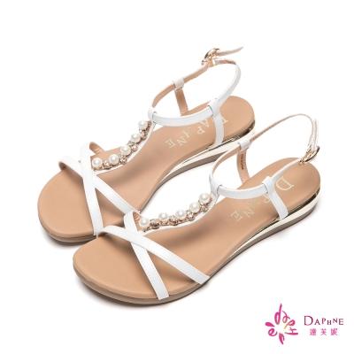 達芙妮DAPHNE-淑雅怡人T字珠飾繫踝楔型涼鞋-好感白