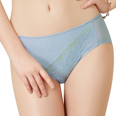 思薇爾 花苑系列M-XXL蕾絲中腰三角內褲(灰藍色)