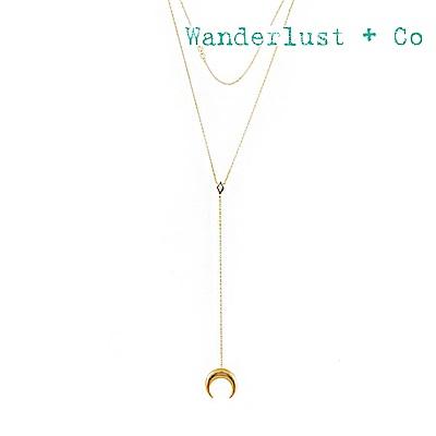 Wanderlust+Co 澳洲品牌 閃耀蛋白石鑲嵌新月垂墜項鍊