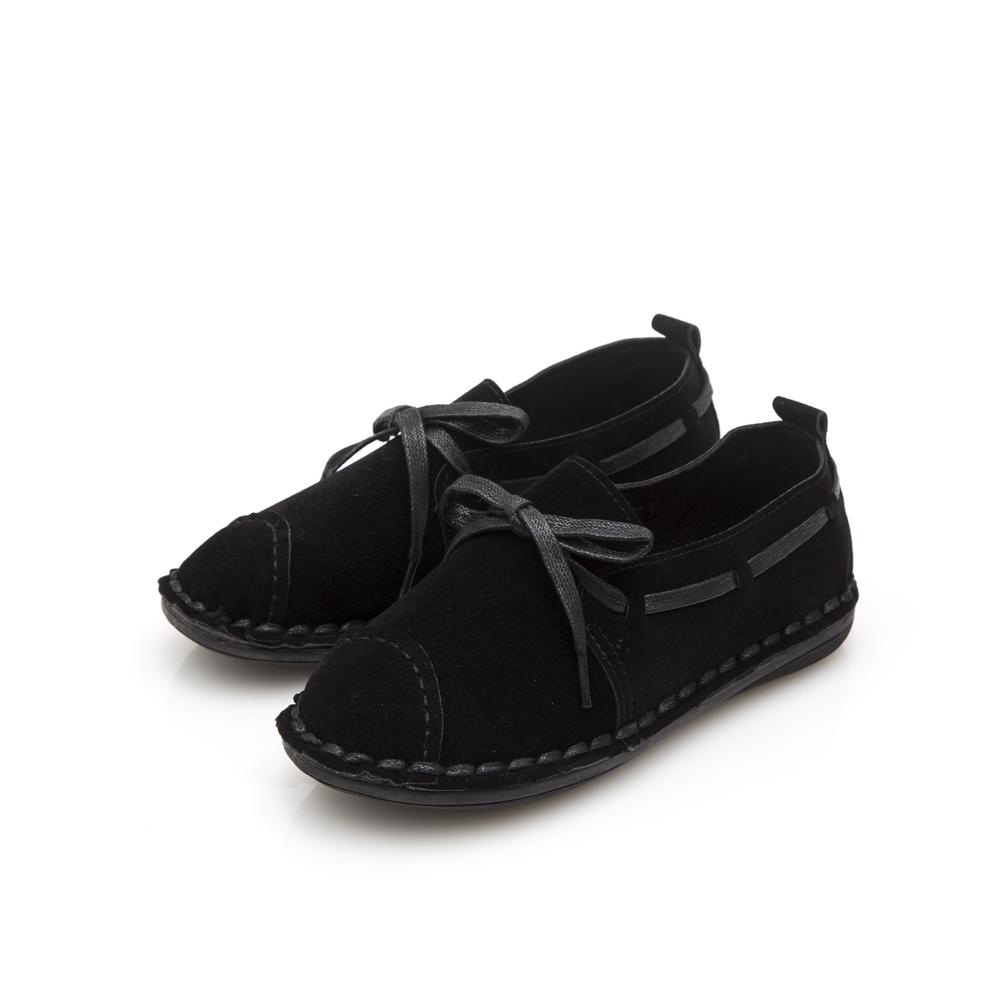 JMS-青春學院車線穿繩平底休閒鞋-黑色