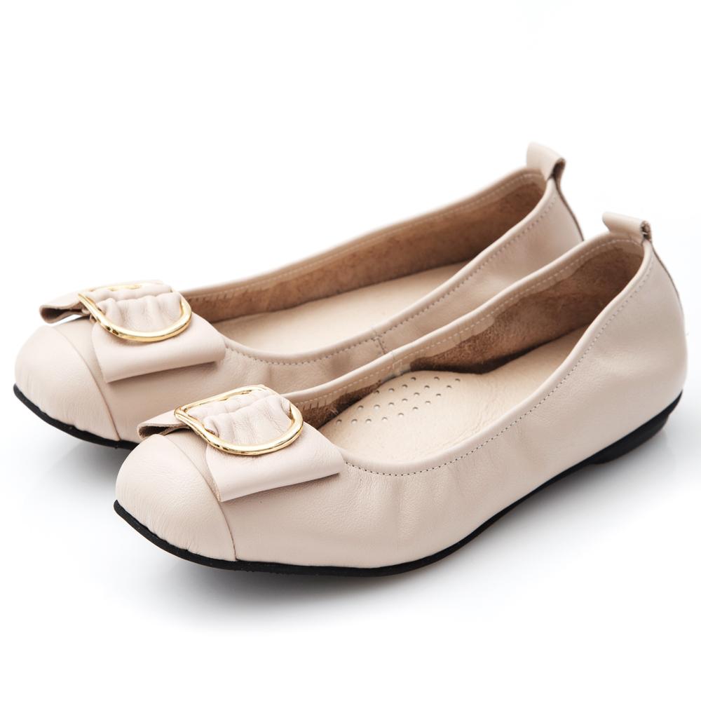G.Ms. MIT系列-牛皮金屬穿釦蝴蝶結娃娃鞋-米灰