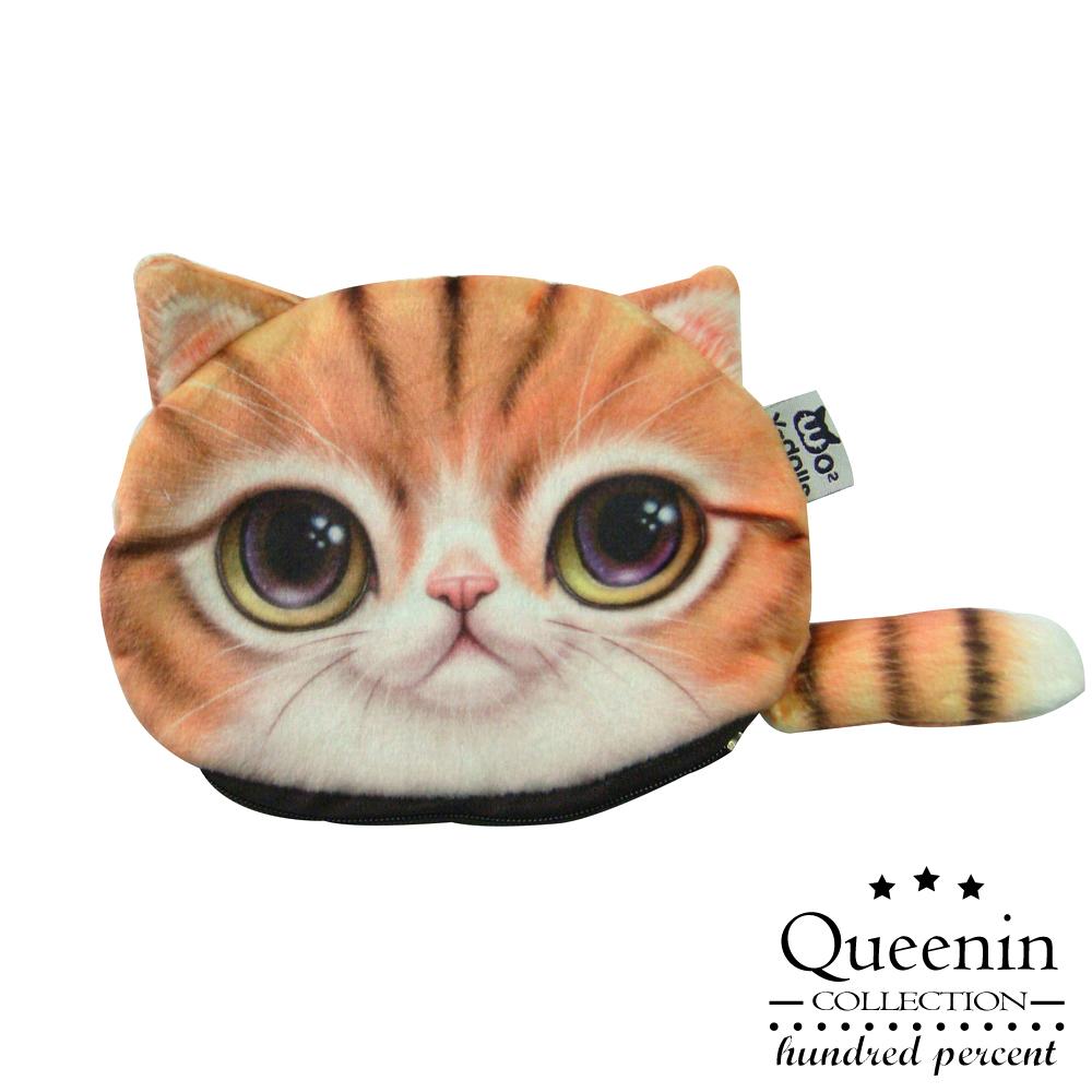DF Queenin皮夾 - 超可愛大眼水汪貓星人零錢包-橘子貓