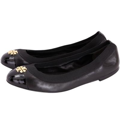 TORY BURCH Jolie 皮革拼接平底娃娃鞋(黑色)