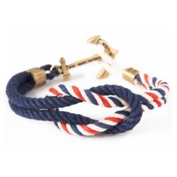 Kiel James Patrick 船錨水手繩結單圈手環  深藍/藍紅白編織