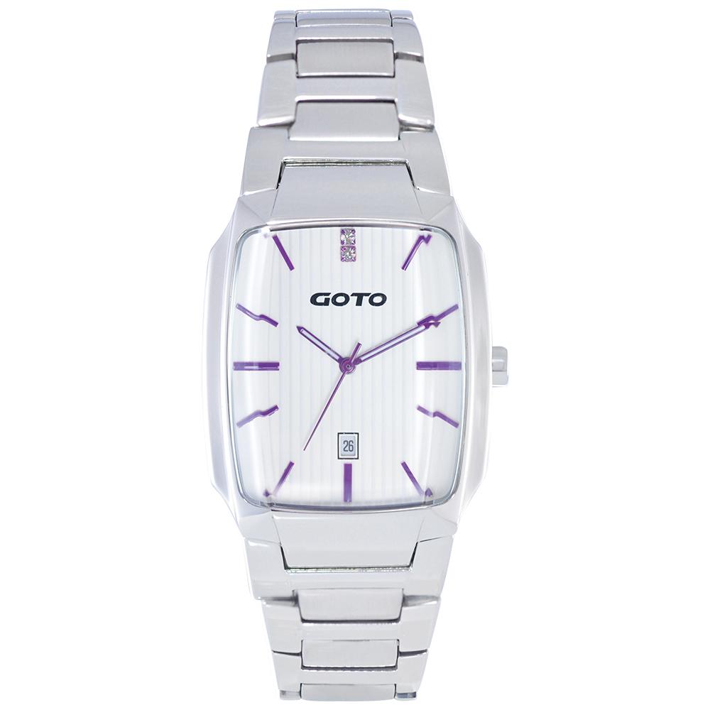 GOTO Laconic時尚腕錶-白x紫/28mm