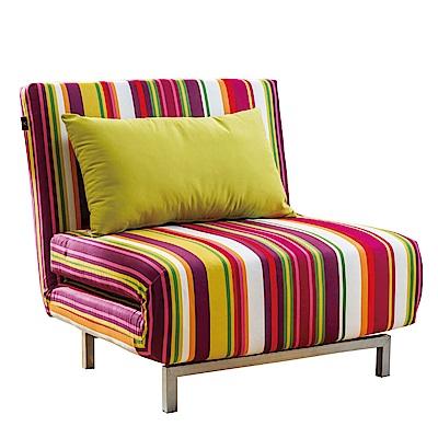 品家居 聖地安亞麻布拉合式單人沙發床-90x80x80cm-免組