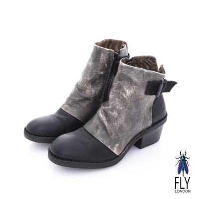 Fly London(女) 搖滾年代 仿舊刷皮側扣牛皮短靴- 滾石灰