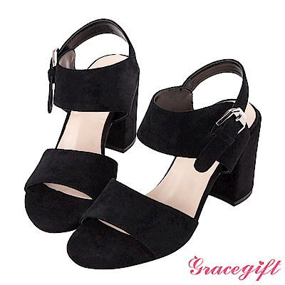 Grace gift-絨布雙寬帶銀釦粗高跟涼鞋 黑