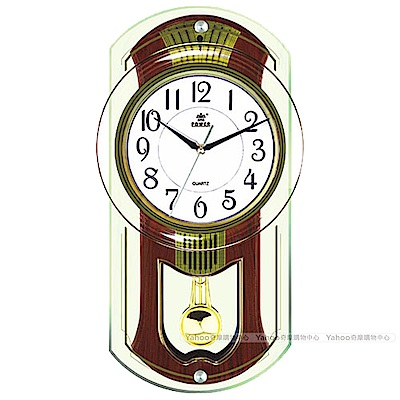 POWER霸王鐘錶-旋轉音樂掛鐘-可可咖啡-PW-6126-JPMKS2-48.6CM