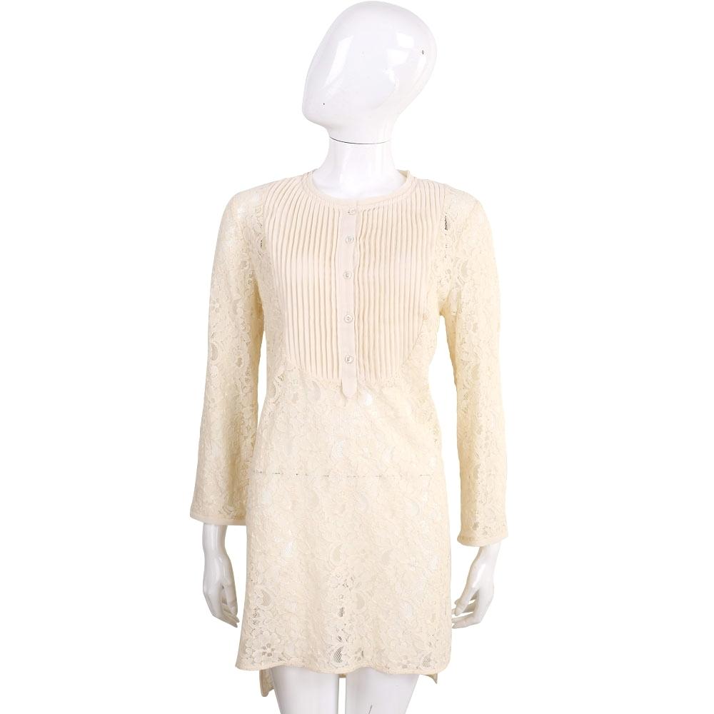 SCERVINO 米黃色百摺蕾絲長袖洋裝