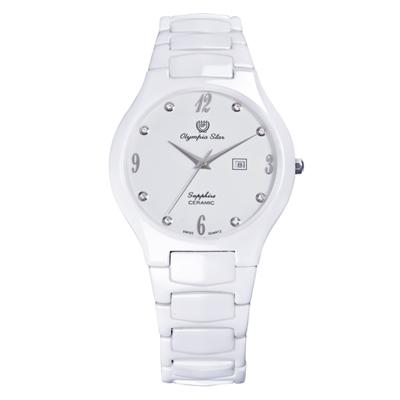 Olympia Star 奧林比亞之星 眩光白陶瓷腕錶-40mm