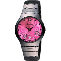 Diadem 黛亞登 浪漫星空陶瓷腕錶-桃紅x黑/38mm