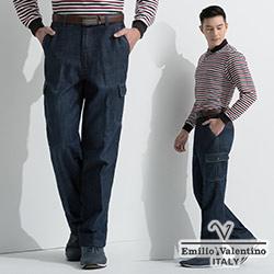 Emilio Valentino 棉質彈性牛仔休閒褲_深藍(30-6A8563)