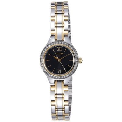 CITIZEN星辰 施華洛世奇錶圈羅馬刻度女仕手錶(EJ6094-52E)-黑/22mm