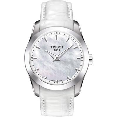 TISSOT Couturier SECRET DATE 時尚雙針珍珠貝女錶-白/33mm