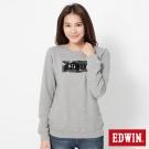 EDWIN 迷彩LOGO印花厚長袖T恤-女-灰色