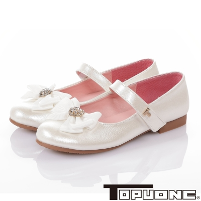 TOPUONE 蝴蝶結愛心水鑽輕量減壓休閒娃娃鞋-白色