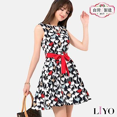 LIYO理優MIT印花綁帶洋裝(黑)