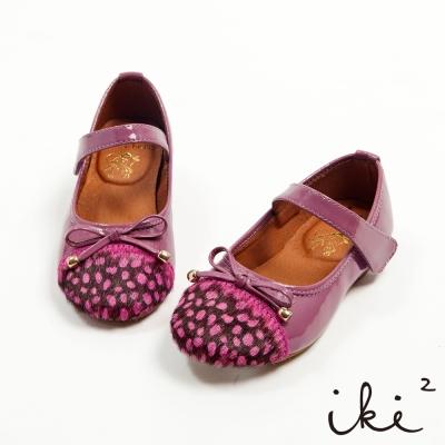 iki2童鞋-真皮完美氣質繫帶雙面料拼接娃娃鞋-浪漫紫
