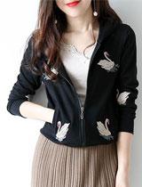 刺繡天鵝寬鬆連帽外套上衣