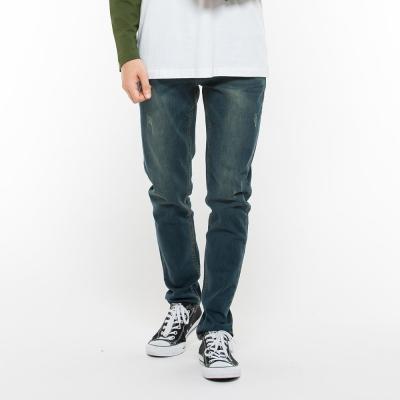 Hang-Ten-男裝-刷色緊身牛仔長褲-深藍