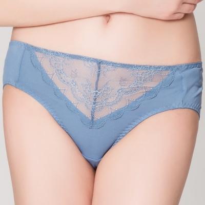 思薇爾 花漾柔情系列M-XXL蕾絲中腰三角內褲(夜幕藍)