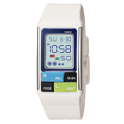 CASIO 太空漫步幾何方塊數字錶(LDF-50-7A)-白/23.6mm