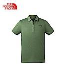 The North Face北面男款軍綠色吸濕排汗短袖POLO衫