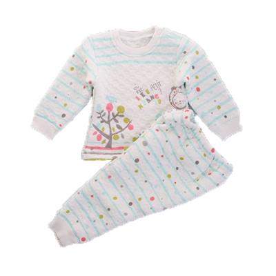 點點條紋三層棉極暖睡衣套裝 綠 k60219