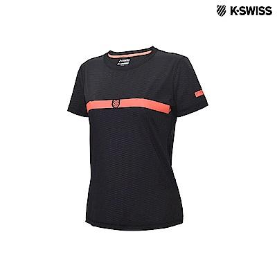 K-Swiss Poly Tech Tee運動排汗T恤-女-黑