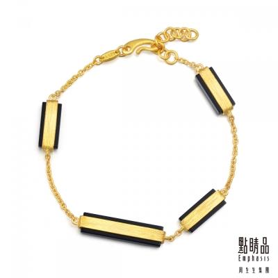點睛品Emphasis 黃金手環- g* collection -矩形黑玉髓