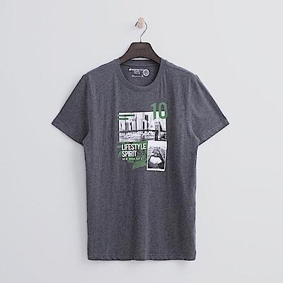 Hang Ten - 男裝 - 有機棉 城市實景T恤-深灰色