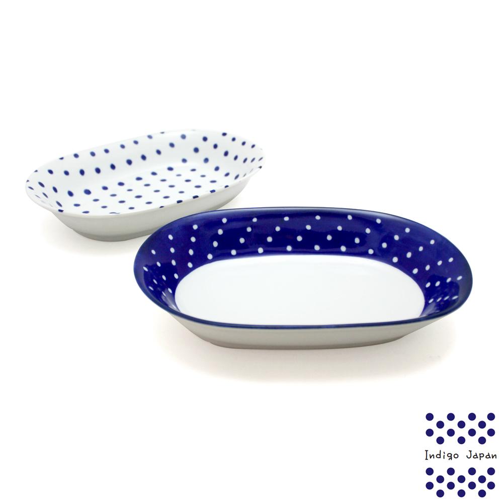 西海美濃燒2入橢圓盤組-藍丸紋