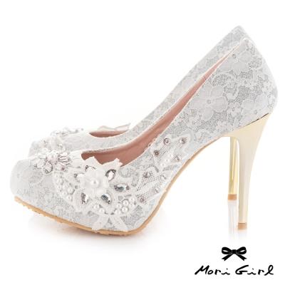 Mori girl 手工縫製水鑽珍珠蕾絲高跟婚鞋 白