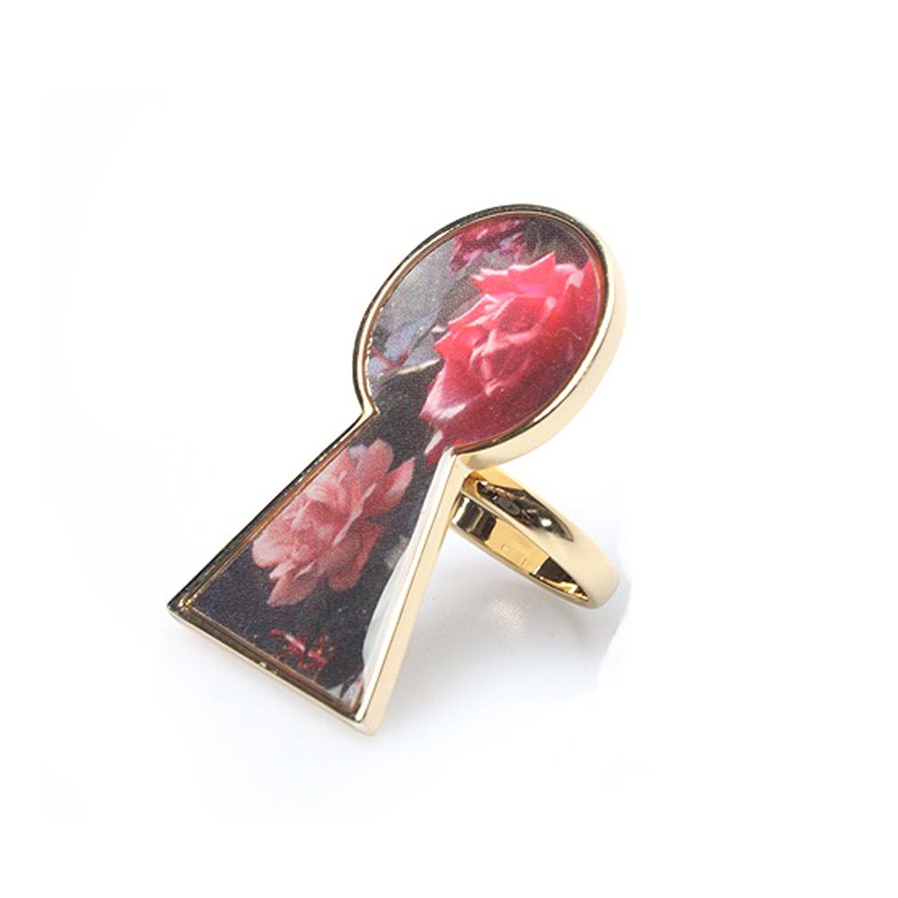 迪士尼 DISNEY COUTURE 魔鏡夢遊系列 鑰匙孔造型 玫瑰花金色戒指