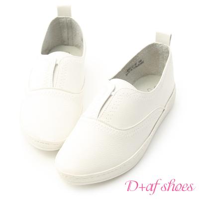 D+AF 舒適自在.拷克車線無綁帶小白鞋*白